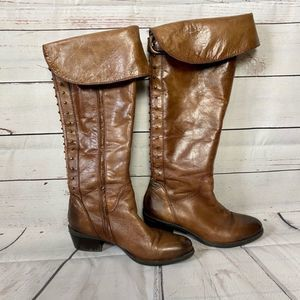 Vince Camuto Studded Leather Riding Boots Brown 7